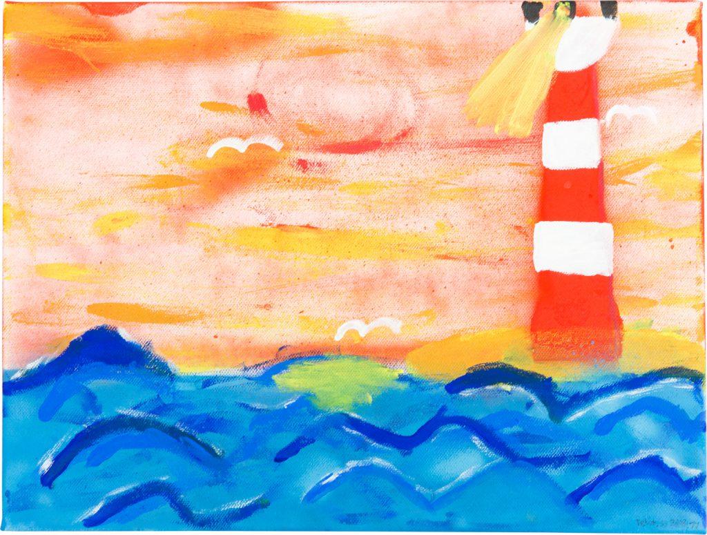 Felix Spiske – Leuchtturm (Acrylfarbe auf Leinwand)
