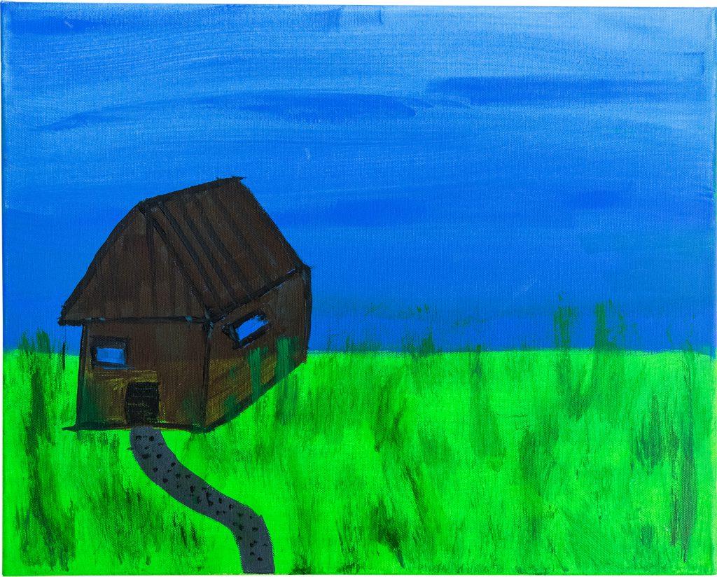 Felix Spiske – Hütte am See (Acrylfarbe auf Leinwand)