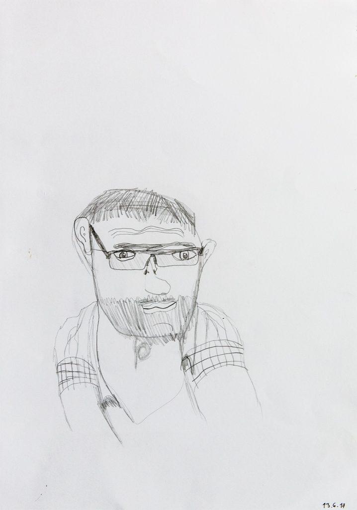 Felix Spiske – Mann mit Brille (Bleistift auf Papier)
