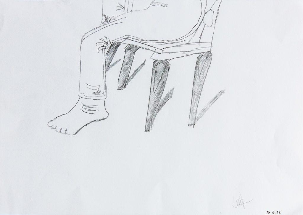 Felix Spiske – Stuhl & Beine (Bleistift auf Papier)